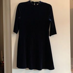 Navy Velour Girls party/holiday dress